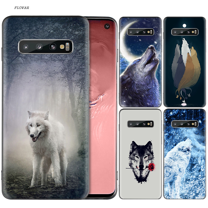 Snow White Blue Eyes Wolf Black Silicone Case For Samsung Galaxy A6 A8 J4 J6 Plus A7 A9 J8 2018 Note 9 8 Mobile Phone Bag Cover