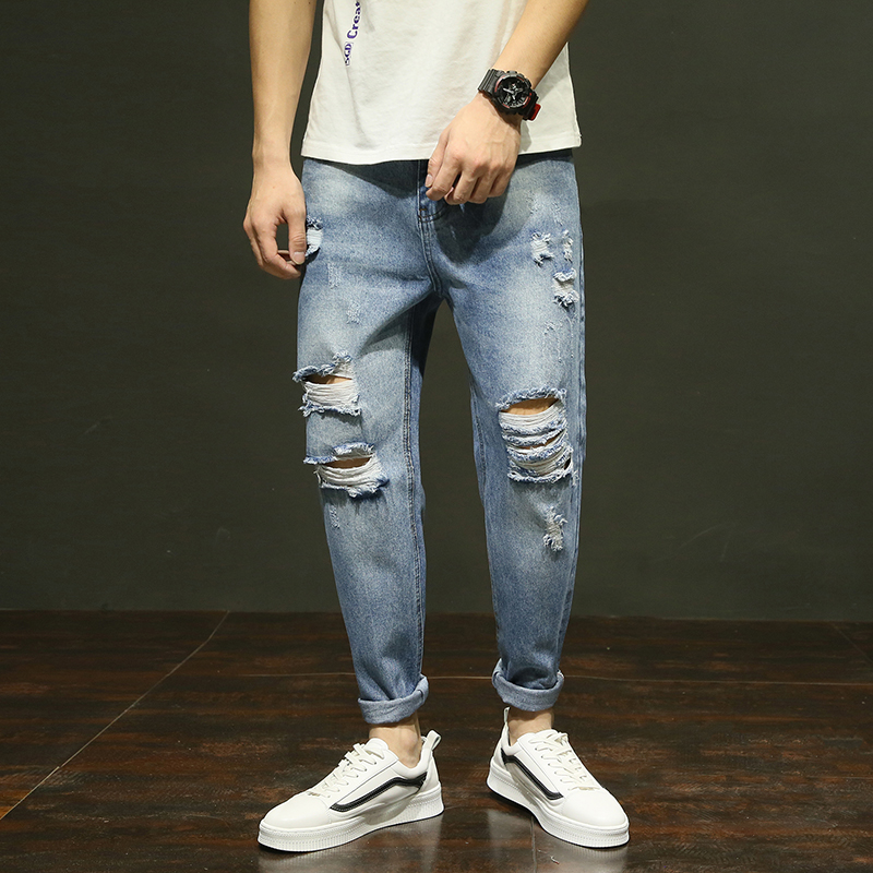 2018 Spring Ankle-Length Casual Jeans Men Slim Fit Fashion Hole Denim Trousers Brand Clothing Bull-puncher Pants Plus Size