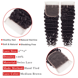 Image 4 - ブラジルディープウェーブ 4 × 4 と 4 バンドル閉鎖毛 8 26 インチ人毛エクステンション織り閉鎖レミーディープ波バンドル