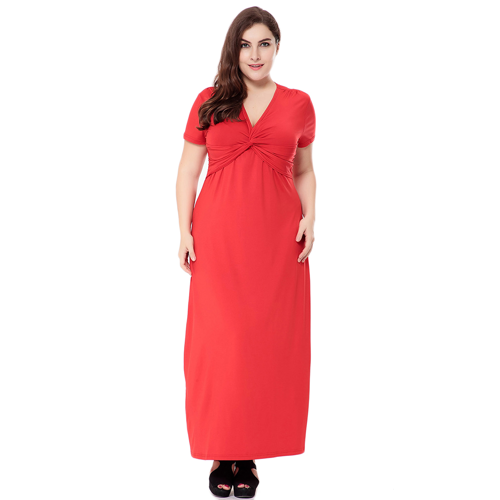 Beach Tunic Solid Red Maxi Dress V-neck Short Sleeve Drapped Sexy Long Dresses Big Size Women Clothing 5XL 6XL Summer Dress 2017