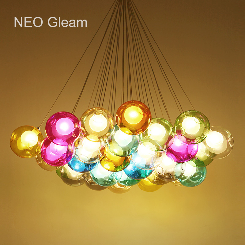Glass Ball Modern LED Pendant Light For Living Dining Room Bar Suspension Pendant Lights lamp lamparas de techo colgante edison inustrial loft vintage amber glass basin pendant lights lamp for cafe bar hall bedroom club dining room droplight decor