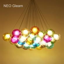Glass Ball Modern LED Pendant Light For Living Dining Room Bar Suspension Pendant Lights lamp lamparas de techo colgante