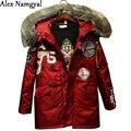 AlexNamgyal новый 2016 женские зимние пуховик большой меховой длинный толстый хлопка-ватник женский-40 градусов вышивка одежды N03