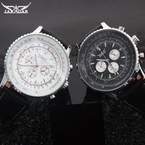 Image 4 - יוקרה JARAGAR מכאני שעונים גברים קלאסי אוטומטי 6 פינים לוח שנה גדול חיוג רצועת שעוני יד montre homme relojes suizos