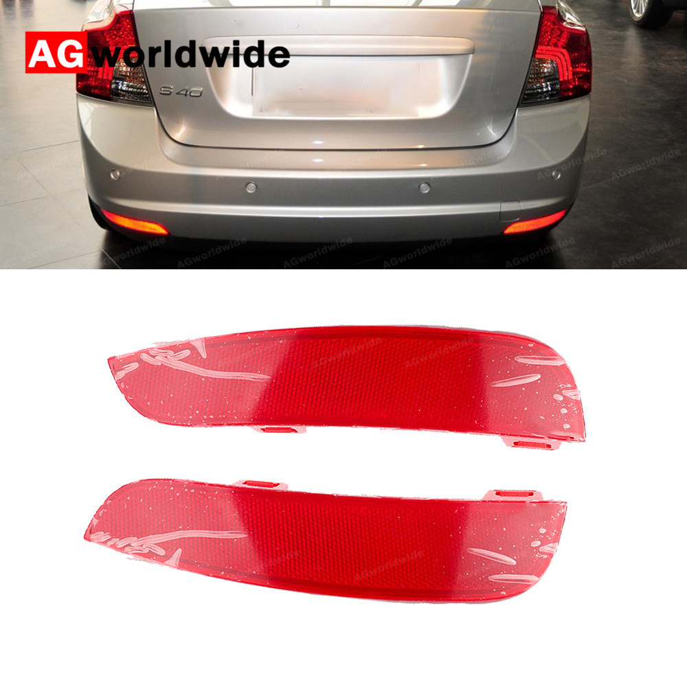 Image 1 - Red Rear Bumper Reflector Lamp Light Lens Left Right 30763345 30763346 For Volvo S40 V50 2008 2009 2010 2011 2012 2014 2015Signal Lamp   -