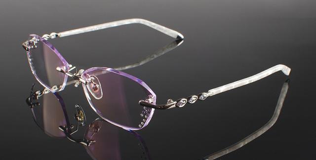 Óculos de titânio puro Quadro arestas de corte de Diamante Moda senhora de Prata decorações de vidro quadro óculos unisex vidros ópticos
