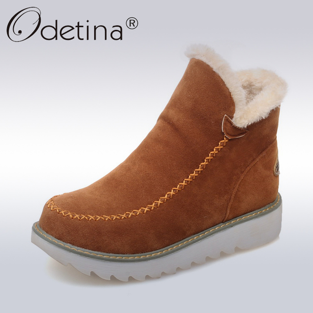Odetina 2018 따뜻한 플러시 플랫폼 발목 스노우 부츠 플랫 여성 겨울 신발 미끄럼 방지 대형 블랙 스웨이드 숙녀 슬립 부츠