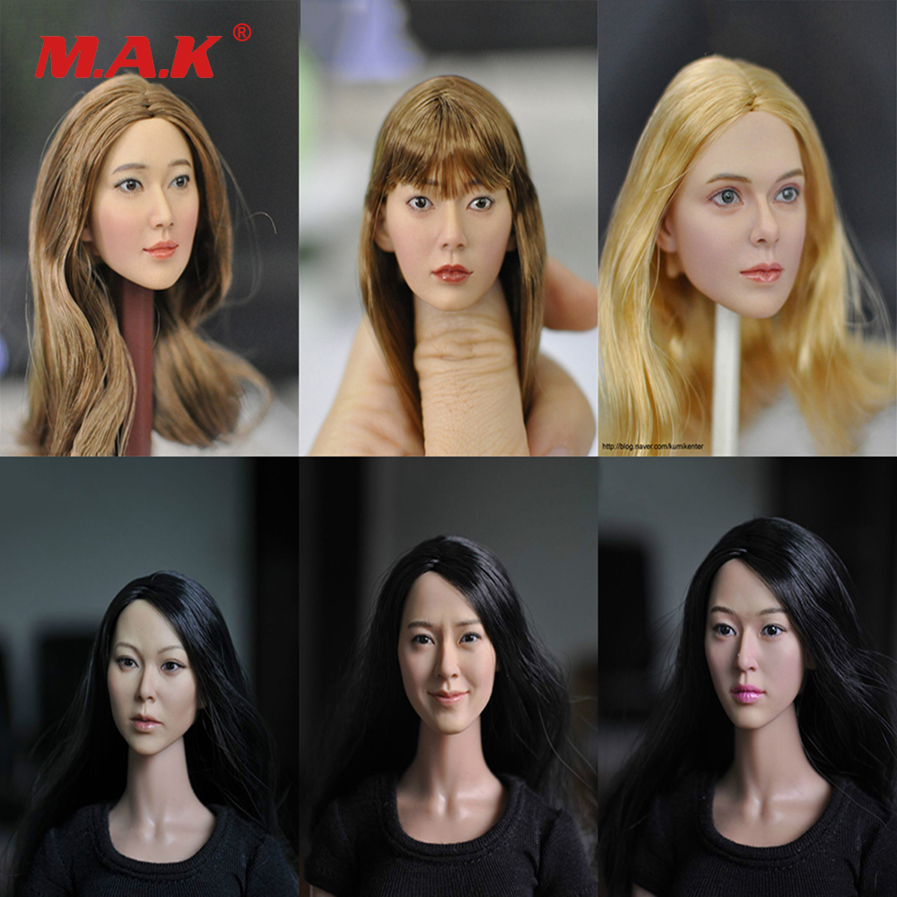 1/6 Scale Female Head Sculpt Woman Head Carving Accessories 6 Styles for 12 inches Action Figure 1 6 female head for 12 action figure doll accessories marvel s the avengers agents of s h i e l d maria hill doll head sculpt