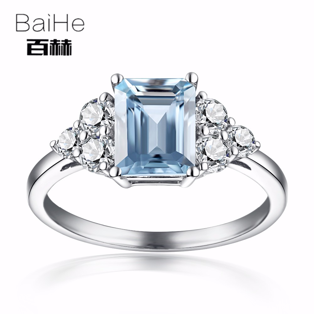 BAIHE Solid 10K White Gold 6x8m Certified Emeral Cut Natural Aquamarine White Topaz Engagement Women Fine Jewelry fashion Ring