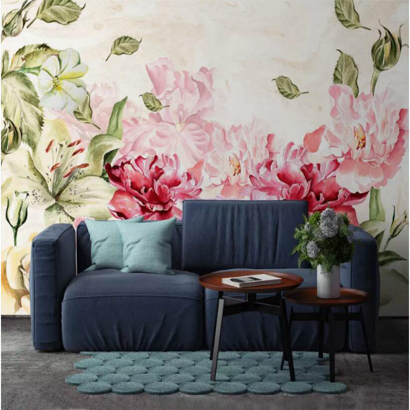 Painting Supplies & Wall Treatments Beibehang Modern Wall Papers Home Decor Minimalist 3d Flower Letters Non-woven Fresh Pastoral Sofa Background Wallpaper 3d Mural