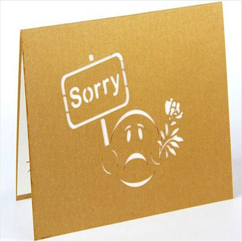 2017 Cartoon Apology Card Creative Message Card Paper Carving 3D - apology card messages