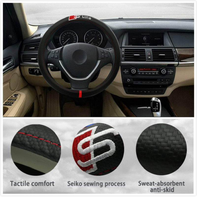Leather Auto Car Steering Wheel Cover 38CM/15inch FOR Audi A3 A4 A5 A6 A7 A8 B4 B5 B6 B7 C4 C5 C6 RS R8 TT Q3 Q5 Q7 Sline car wind 38 cm genuine leather car steering wheel cover black steering wheel cover for bmw vw gol polo hyundai car accessories