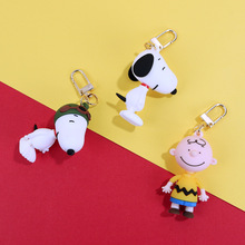 High Quality New INS Cute Cartoon Charlie Brown Key Chain For Ladies Creative Car Bag Charms Accessories Anime