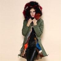 İtalya uzun tarzı çok kış sıcak kabanlar palto Mr Mrs kürk gerçek tavşan kürk parka büyük kürk yaka coat