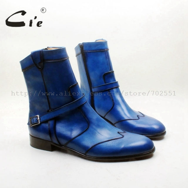 b03fdc913e7 cie Round Toe W-tips Zipper Ankle Boot Hand-Painted Blue 100% Genuine Calf  Leather Men Boot Leather Outsole Breathable A151