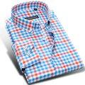 Caiziyijia primavera 2017 mens clássico contraste de cor camisas xadrez de manga longa 100% algodão soft comfort slim-fit botão-camisa para baixo