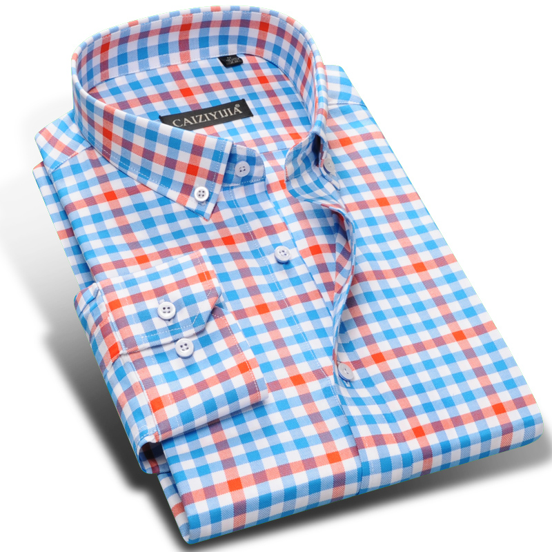 Men 39 S Long Sleeve Contrast Plaid Dress Shirts High Quality