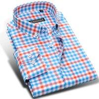 Men's Long Sleeve Contrast Plaid Dress Shirts High quality Comfortable Soft Cotton Smart Casual Slim fit Button down Tops Shirt