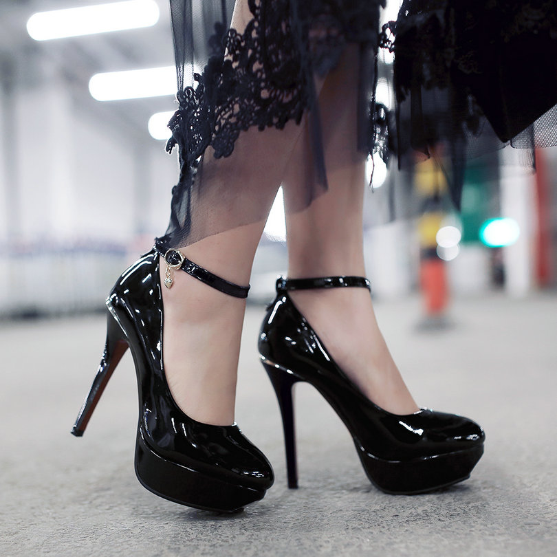 Size 34-43 Red Ladies Summer Shoes Thin High Heel PU leather Platform Woman Pumps Pointed Toe Ankle Strap Ladies Wedding Shoes plus size 11 12 black pointed toe wedding women shoes summer office ladies work shoes thin high heel pu leather woman pumps