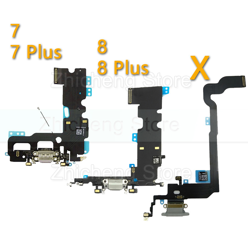 Original Charging Flex Cable For IPhone X Xs Max XR 7 8 Plus USB Charger Port Dock Connector With Mic Flex Cable