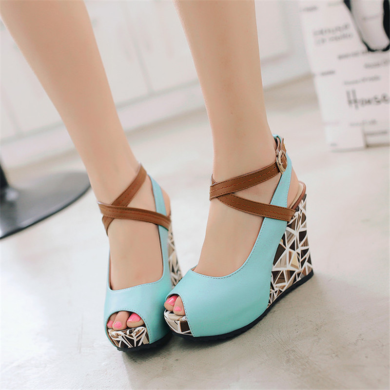 1c126ab45e4 PXELENA 2018 Summer Best Selling Elegant Fashion Dating SHoes Women Open  Toe Wedge Heels Cross Strap Sandals Plus Size Creeper-in High Heels from  Shoes on …