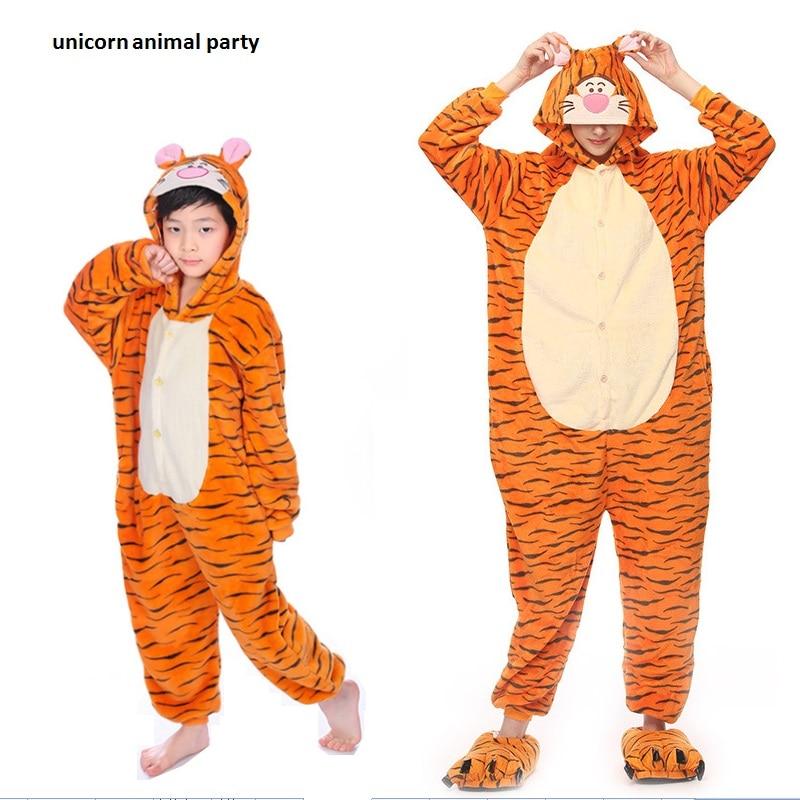 Kigurumi Tiger Onesies Dewasa Flanel Piyama Kostum Hewan Dewasa Lucu Kartun Hewan Pakaian Tidur Cosplay Wanita dan Pria Piyama