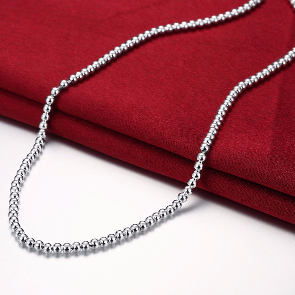 Women's Fashion jewelry 18'' 4MM Hollow Buddha beads necklace 925 stamped silver plated charm chain gift pouches free shipping