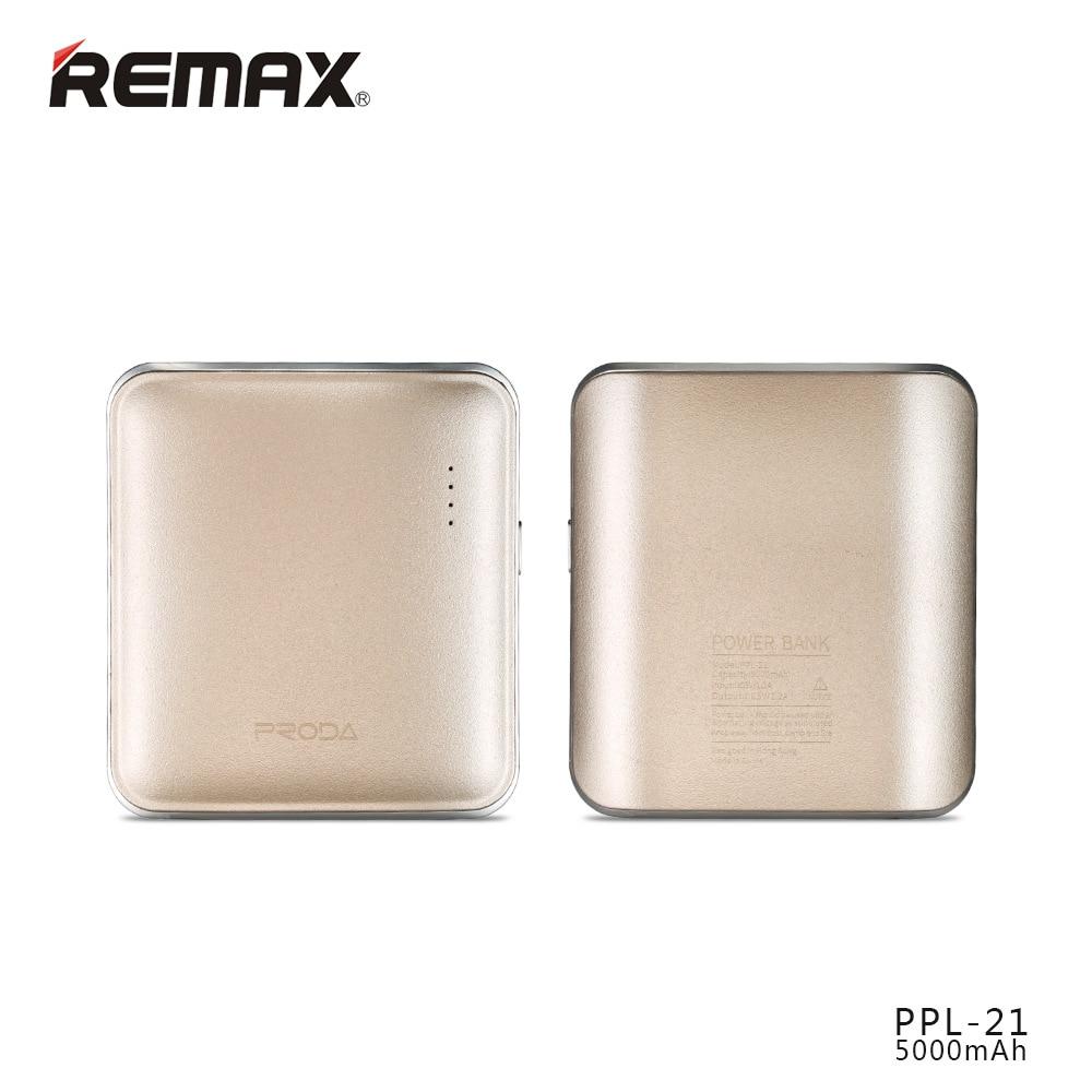 Remax Tragbare PPL-21 5000 MAH USB Power Poverbank Externes Ladegerät Für Iphone Xiaomi energienbank batterie externe