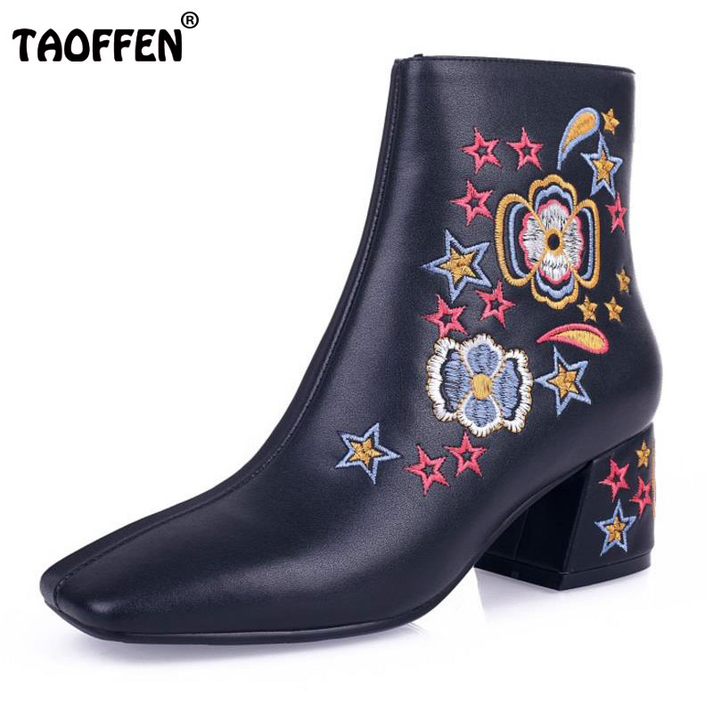TAOFFEN Lady Genuine Leather Warm Ankle Boot Women Square Toe Flower Zipper Winter Shoes Women Sexy Party Footwears Size 34-39 vinlle women boot square low heel pu leather rivets zipper solid ankle boots western style round lady motorcycle boot size 34 43