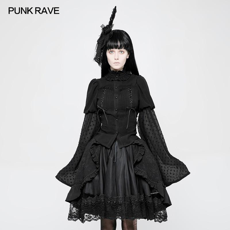 PUNK RAVE gothique Lolita femmes chemise mode Lolita trompette manches noir t-shirt Cospolay soirée hauts fête chemise