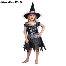 Halloween Children Black Witch Dress Girl Fancy Dress Fantasia Infantil Carnival Party Kids Christmas Cosplay Costume with Hat цена в Москве и Питере