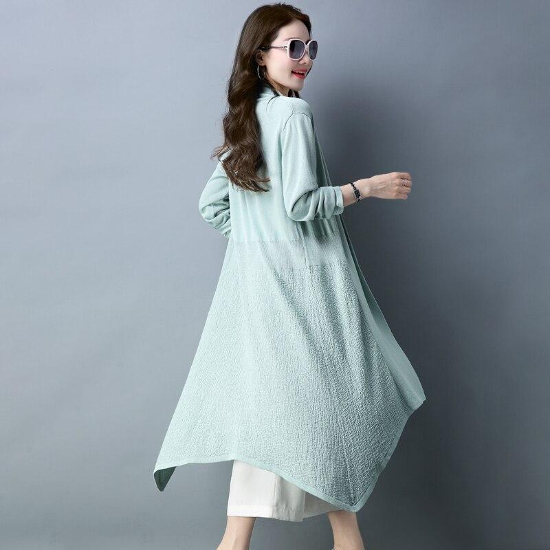 Donne Manica Autunno Solid Maglia Outwear Lunga Signore Lungo In Cardigan Della Beige verde Di Nero Delle Molla il rARrwq