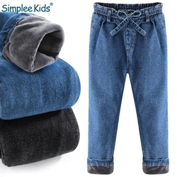 Simplee Kids 2018 Winter jeans for Kids Fashion girls jeans warm with velvet Thick boys Jeans blue Children denim trousers pants
