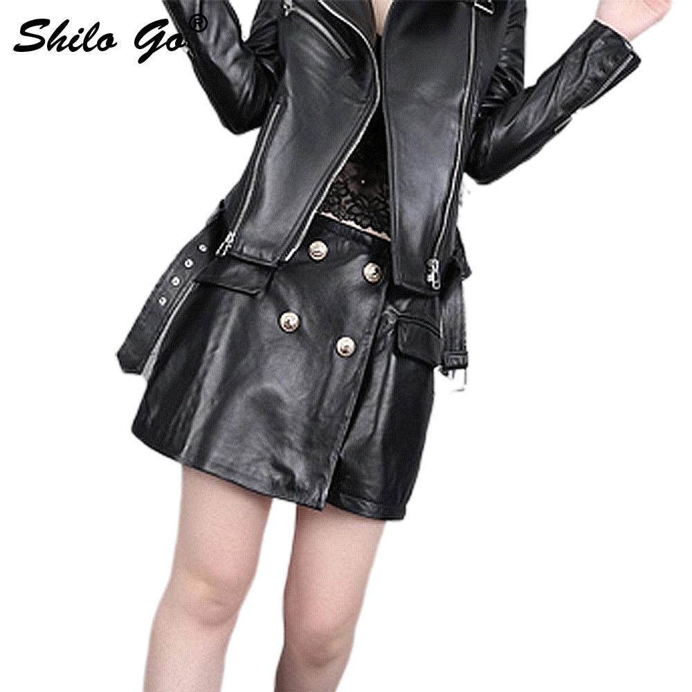 Leather Shorts Summer Spring Fashion Sheepskin Genuine Leather Shorts High Waist Double Breasted England Shorts Skirts
