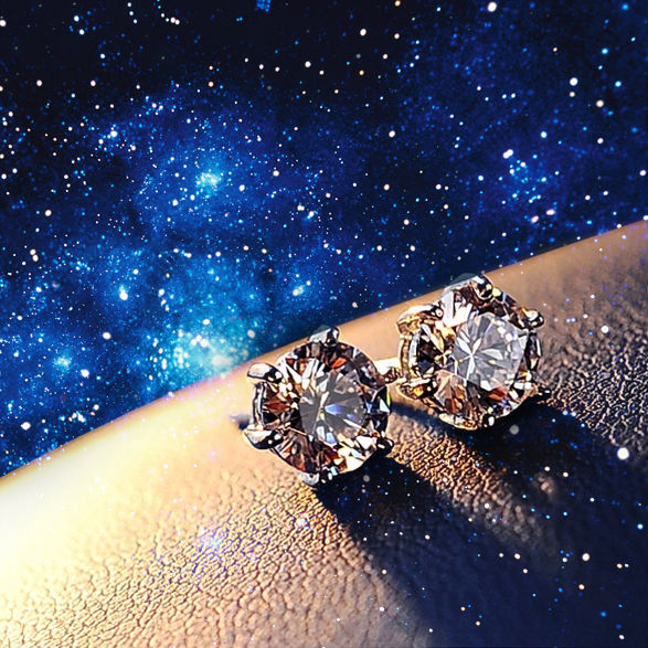 NICETER 1ct  Prong Setting 925 Sterling Silver Needle Swiss CZ Diamond Stud Earrings For Women Fashion Accessories Hotsale N8063