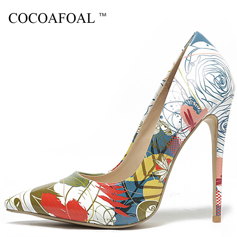 COCOAFOAL Woman High Heels Shoes Bridal White Wedding Heel Shoes Womens Plus Size Pointed Toe Pumps Party Stiletto GraffitiCOCOAFOAL Woman High Heels Shoes Bridal White Wedding Heel Shoes Womens Plus Size Pointed Toe Pumps Party Stiletto Graffiti