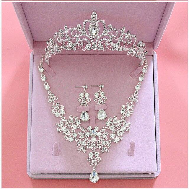 Moda de Cristal Do Casamento Conjuntos De Joias de Noiva Tiara Coroa Brinco  Colar Mulheres Prom 6a8c1573c7