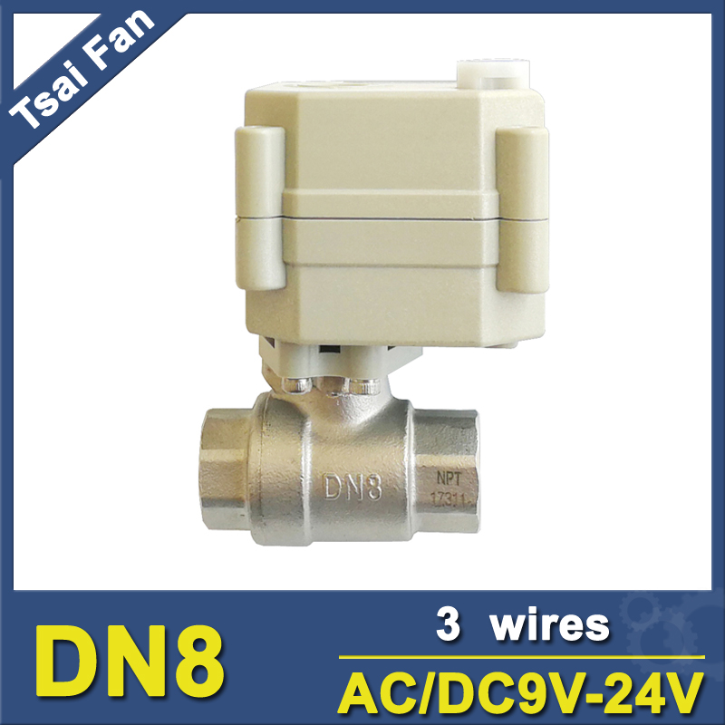 Tsai Fan Electric Automatic Ball Valve 2 Way Stainless Steel NPT/BSP 1/4 AC/DC9V-24V 3 Wires Valve On/Off 5 Sec CE/IP67 stainless steel 2 electric ball valve dc12v 5 wires dn50 actuator valve 2 way torque 10nm on off 15 sec metal gear