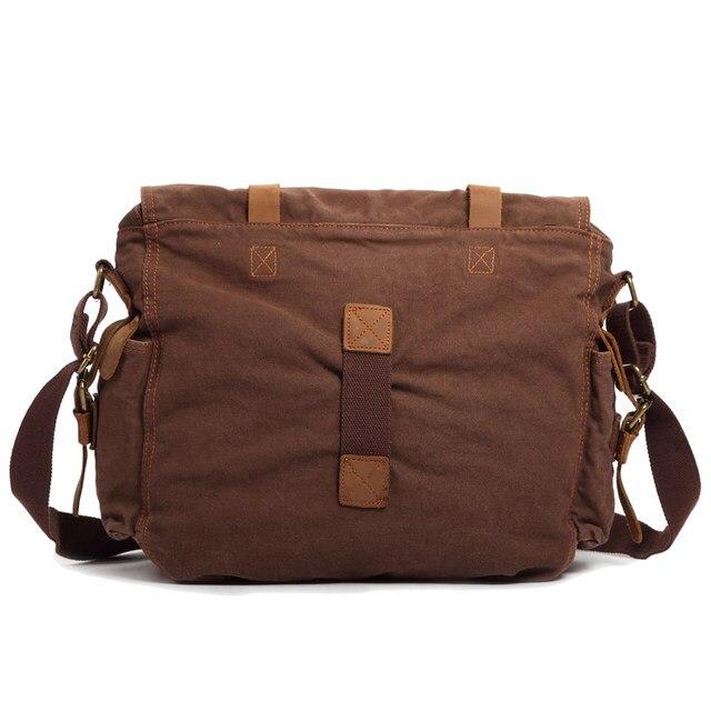 Vintage Canvas Handbags Men Shoulder Bag Crazy Horse Leather Crossbody S Travel Bags 15 17inch Laptop Briefcase