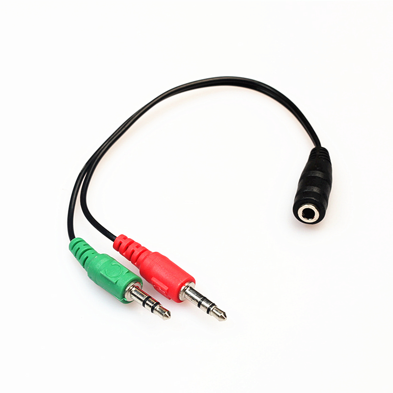 Rankman 10pcs Splitter AUX Cable 2 Male to 1 Female with Mic 3.5 Jack Extension Audio Cable for Speaker Phone Car Earphone