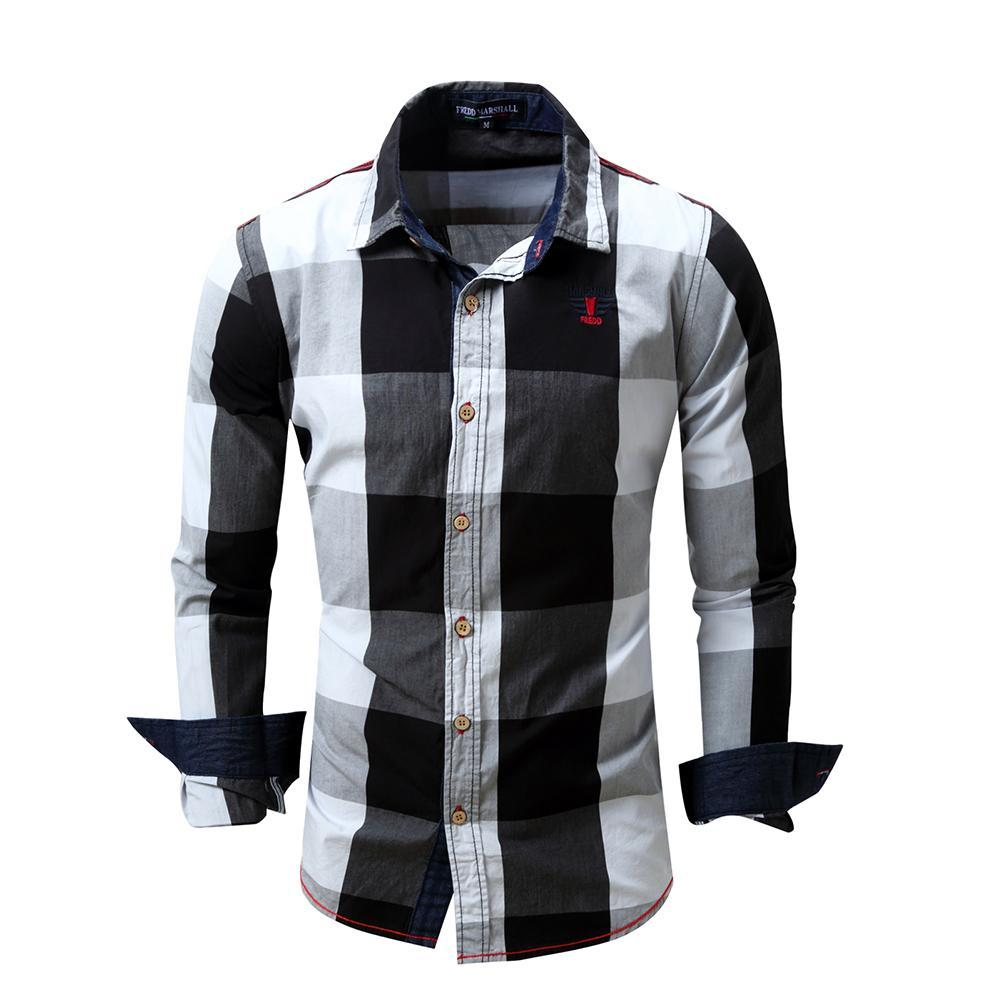 Shirts Mens Long Sleeve Blouses Lattice Plaid Painting Male Blouse Large Size Casual Top Shirts Blouse Shirts Camisa Masculina Elegant And Sturdy Package