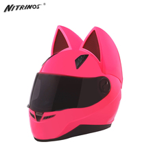 NITRINOS Moto Kask Moto Uszu Kask Kask Motocyklowy Kobiet Osobowości Całą Twarz Kask Silnika 4 Kolory Różowy Żółty Czarny Biały