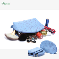4pcs Set Portable For Women PU Case Large Capacity Ostrich Grain Makeup Toiletry Travel Storage BagMake