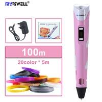 Myriwell 3D Penna Stampante 3D FAI DA TE Penna Disegno Penne Stampa 3d migliore per I Bambini con ABS 100 m Filamento 1.75mm Di Natale regalo Di Compleanno