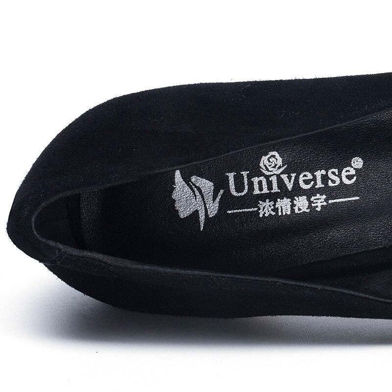 Ronde Noires Chaussures Réel 15 Black 8 De Univers H123 Décontracté Doux Femmes