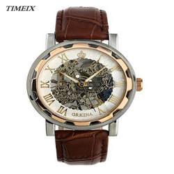 Творческий роскошные модные часы мужские кожаный ремешок из нержавеющей Скелет механические часы мужской подарок Бесплатная доставка