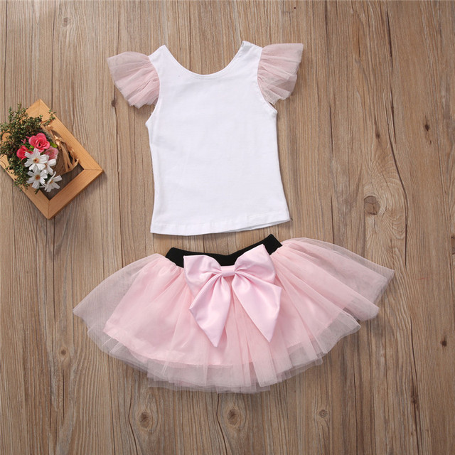 2019 Lovely Short Sleeve T-shirt TuTu Skirt 2pcs Mother Daughter Dresses Cotton Summer Clothes Family Kids Parent Child Outfits 1