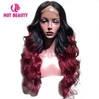 Горячие Красота человеческих волос парик перуанский Волосы remy объемная волна Синтетические волосы на кружеве парик 1B/вина натуральных вол