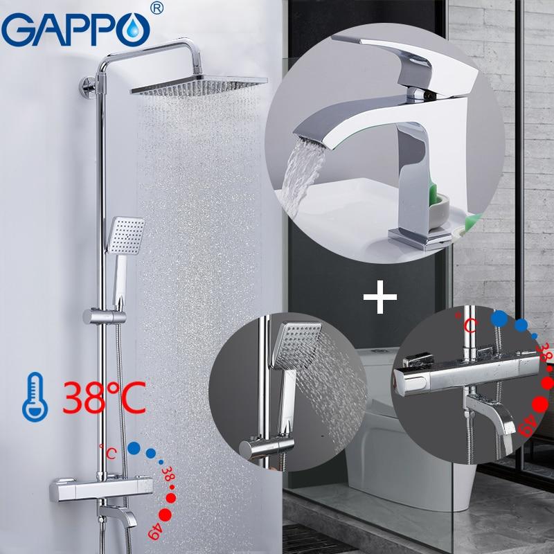 GAPPO duş sistemi banyo termostatik duş musluk duvara monte banyo duş mikser yuvarlak duş kulaklık batarya
