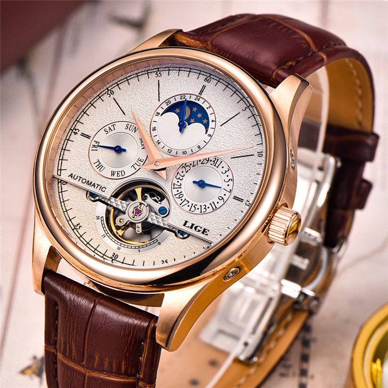 LIGE Brand Men watches Automatic mechanical watch tourbillon Sport clock leather Casual business wristwatch Gold relojes hombre цена